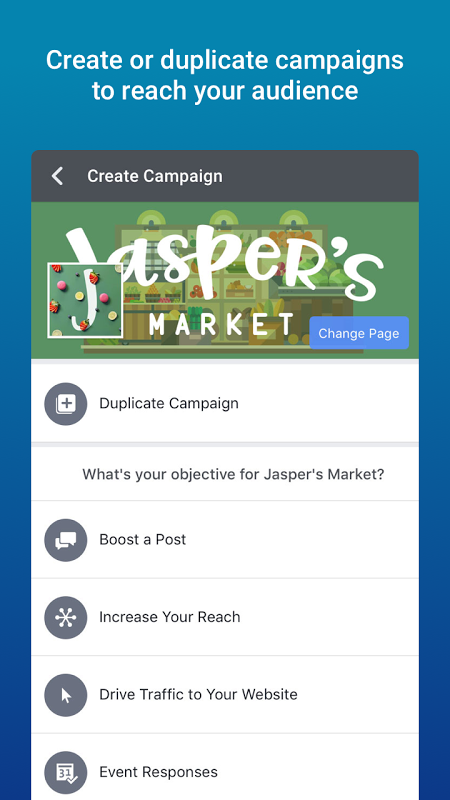 Android Facebook Adverts Manager Screen 1