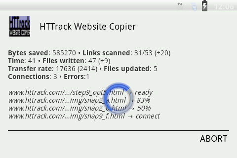 HTTrack Website Copier 3.49.02.63 Screen 7