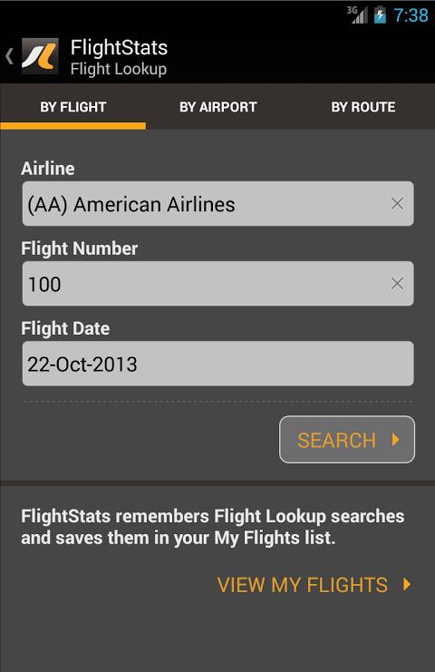 FlightStats 2.0.5 Screen 1