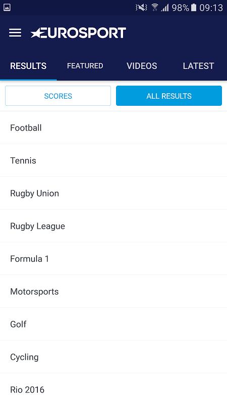 Android Eurosport Screen 3
