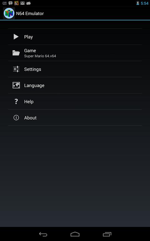 Android N64 Emulator Screen 1