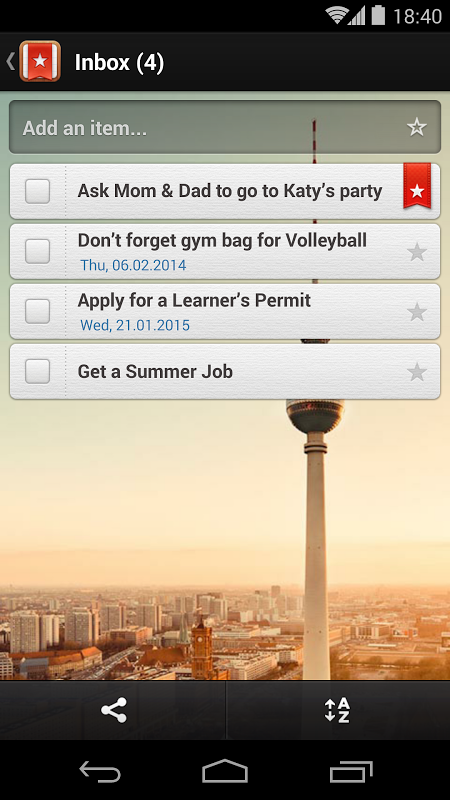 Android Wunderlist for Education Screen 4