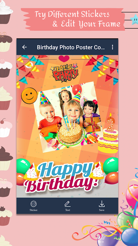 Android Birthday Photo Poster Collage Screen 3