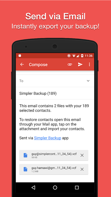 Easy Backup - Contacts Export and Restore 8.9.8 Screen 1