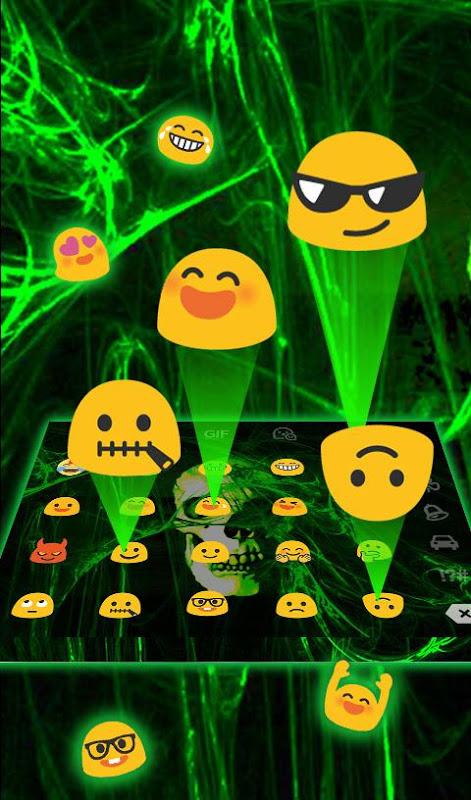 Android Neon Green Light Skull Keyboard Theme Screen 5
