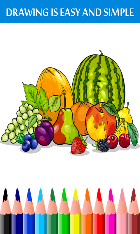 Android Fruits Coloring Book & Drawing Book Screen 1