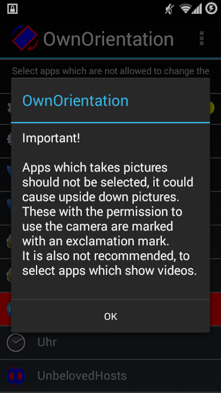 Android OwnOrientation Screen 1