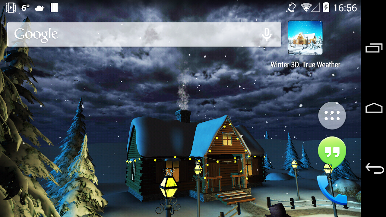 Android Winter 3D, True Weather Screen 4