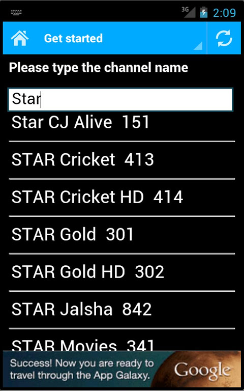 Android DTH Television Guide India Screen 1