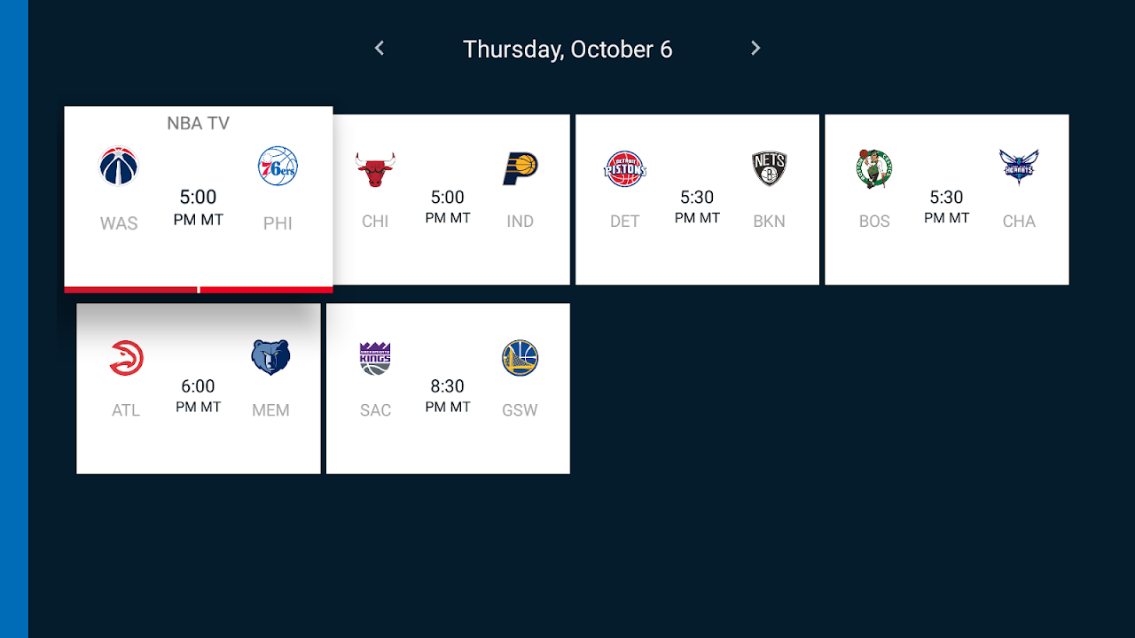 Android NBA for Android TV Screen 2