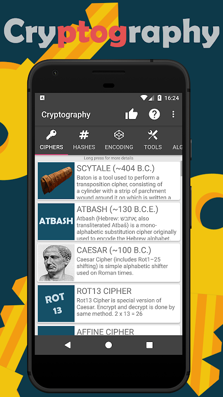 Cryptography (Collection of ciphers and hashes) 1.6.8 Screen 1