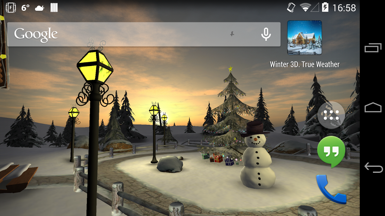 Android Winter 3D, True Weather Screen 6