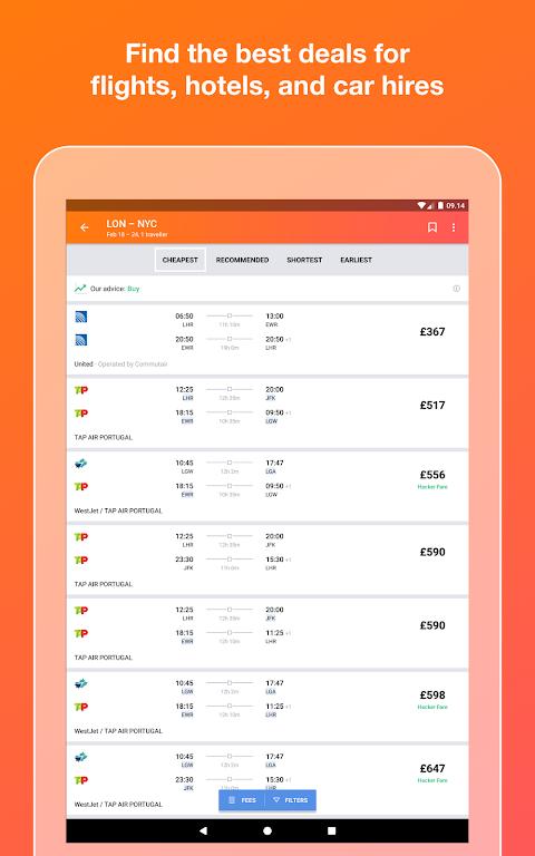 KAYAK flights, hotels & cars 73.1 Screen 5
