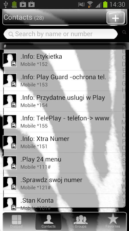 GO Contacts Zebra Theme 3.0 Screen 2