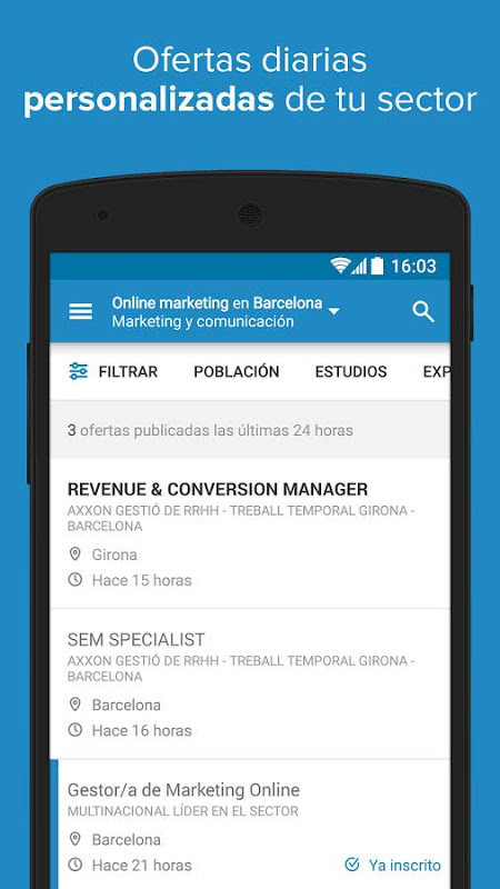 Android InfoJobs - Job Search Screen 2