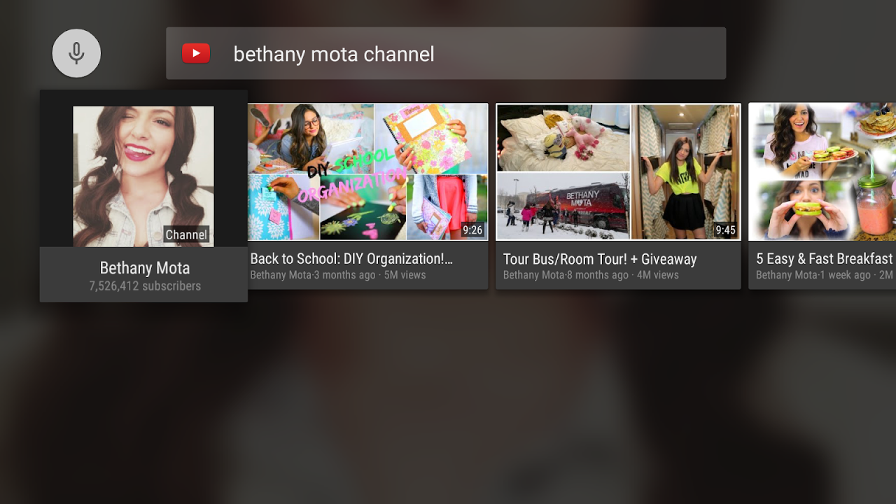 YouTube for Android TV 1.0.3.7 Screen 2