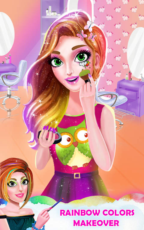 Android Unicorn Rainbow Makeover - Dress up & Makeup Game Screen 2