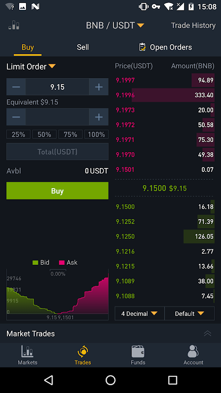 Android Binance - Cryptocurrency Exchange Screen 1
