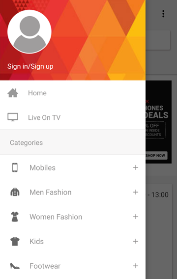 HomeShop18 Mobile 3.2.4 Screen 1