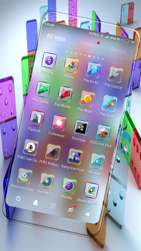 Android Gradient-Glass Icon Pack Screen 2
