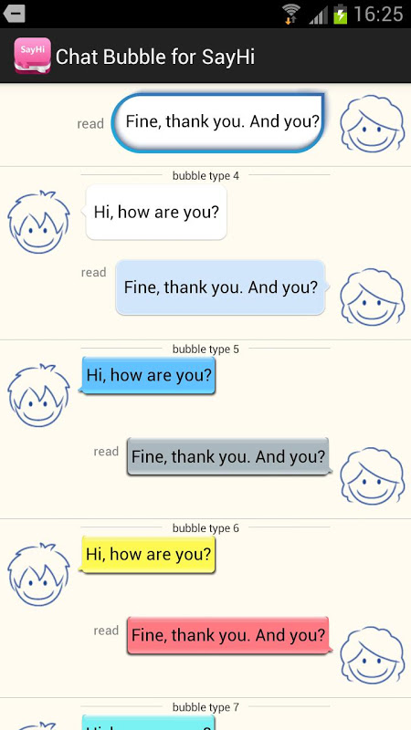 Android Bubble Style for SayHi Dating Screen 1
