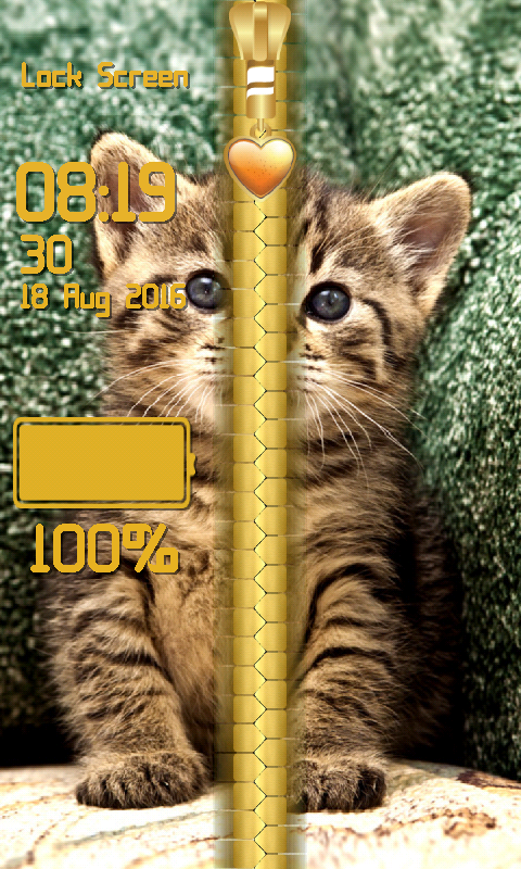 Android Kitty Zipper Lock Screen Screen 3
