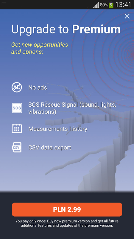 Android Vibrations & Seismic Meter Screen 3