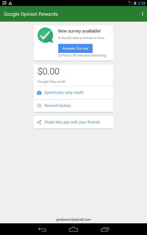 Android Google Opinion Rewards Screen 8