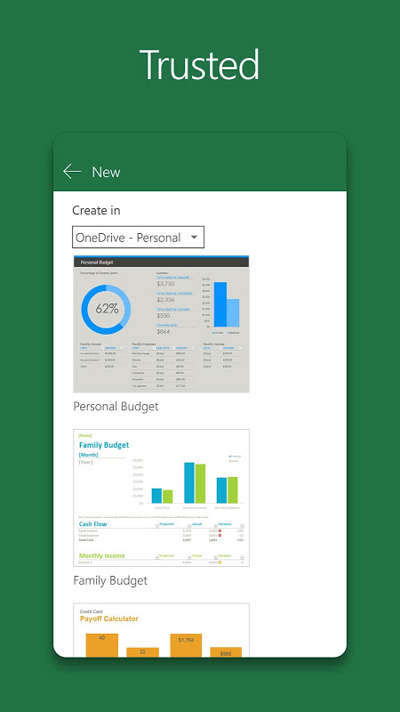 Android Microsoft Excel Screen 1