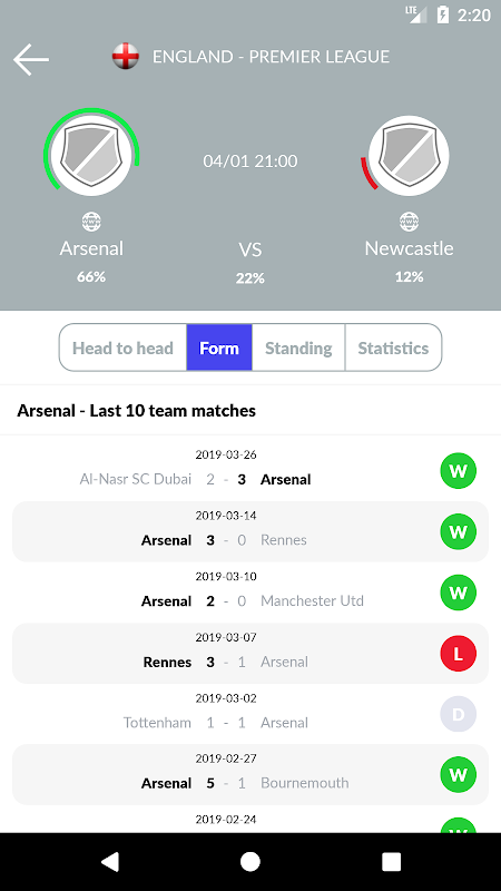 Soccer Predictions 2.2.3 Screen 6