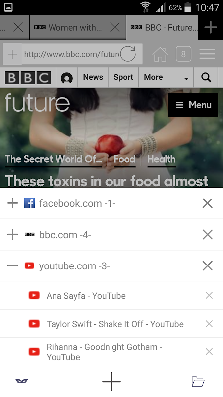 Android Aon Browser, Adblock Mini Screen 4