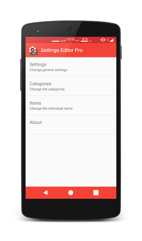 Settings Editor Pro 2.13.3 Screen 1