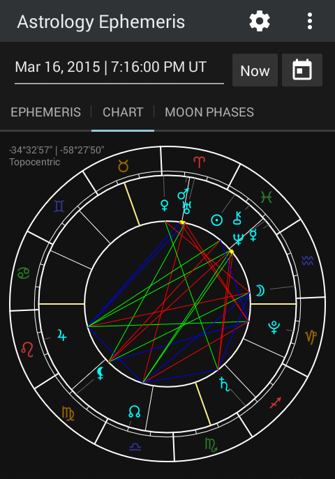 Astrology Ephemeris 0.5 Screen 3