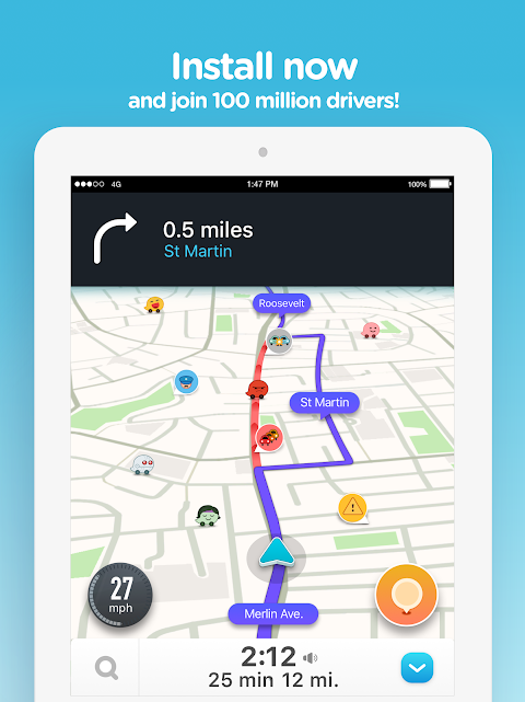Android Waze - GPS, Maps, Traffic Alerts & Sat Nav Screen 9