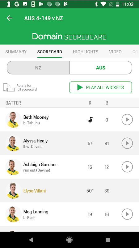 Android Cricket Australia Live Screen 8