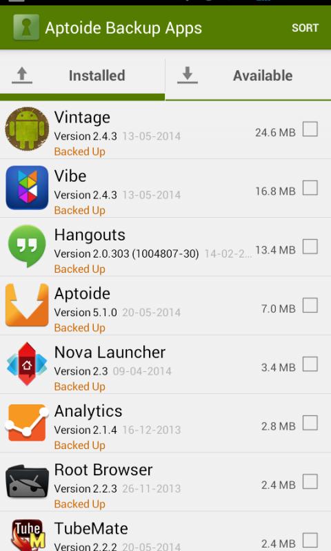 Aptoide Backup Apps 2.4.0 Screen 6