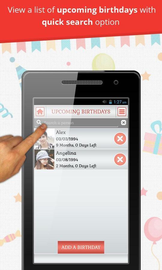 Birthday Reminder & Calendar 1.0.5 Screen 2