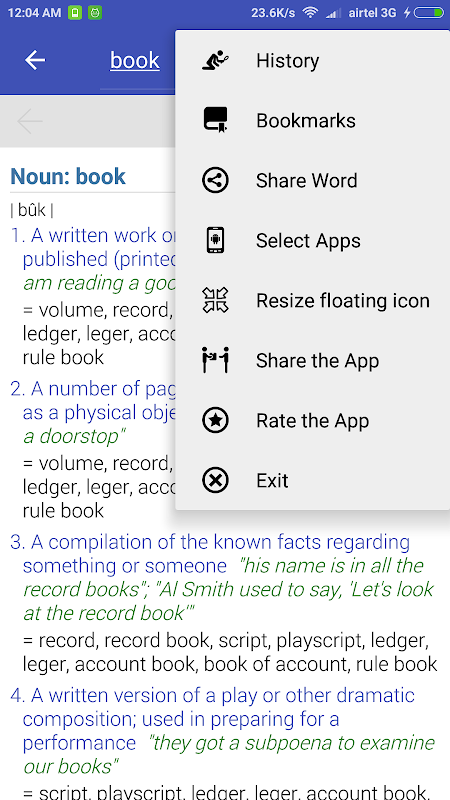 Floating Dictionary 1.2 Screen 2
