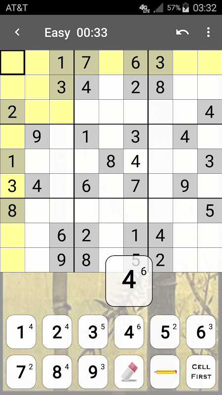 Android Sudoku Screen 1
