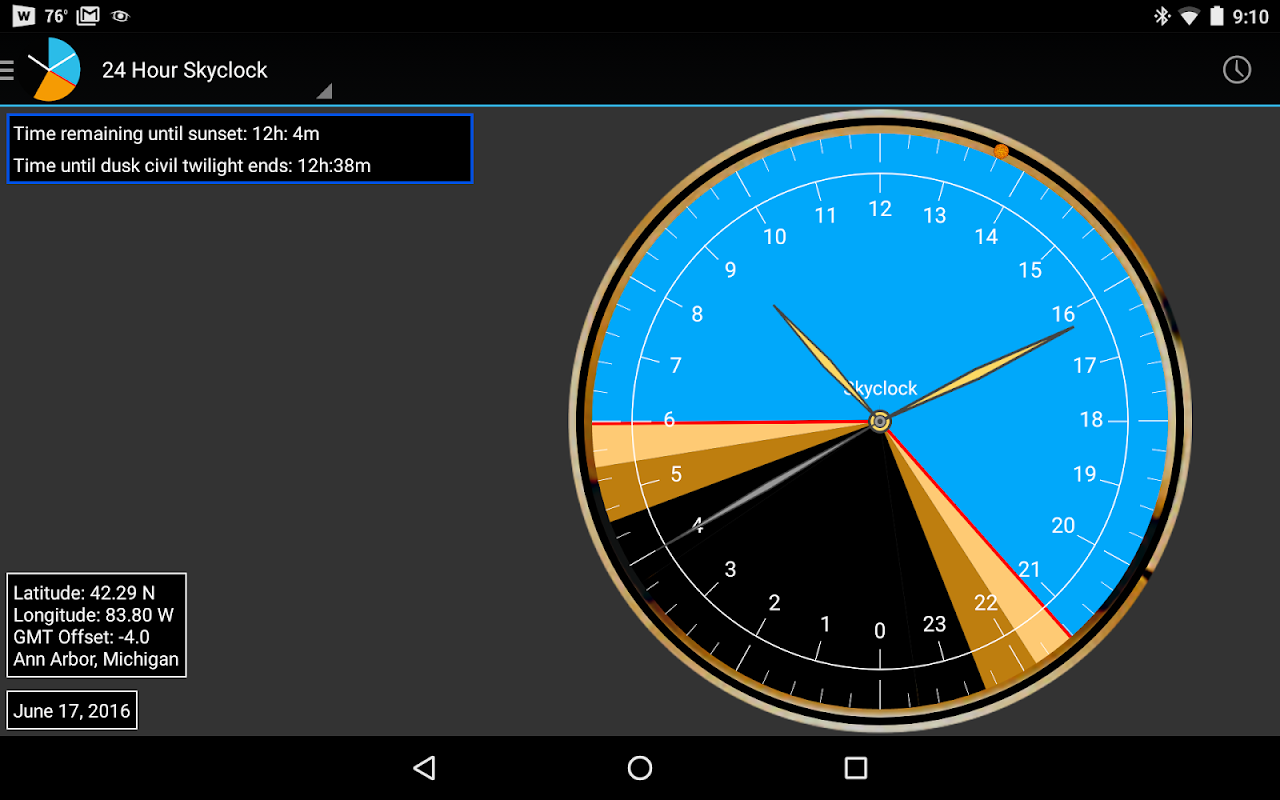 Android Skyclock Screen 8
