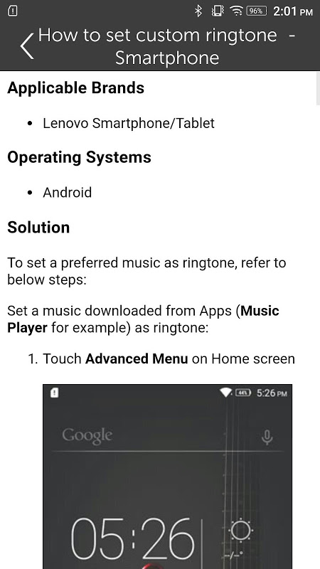 Android Lenovo Help Screen 3