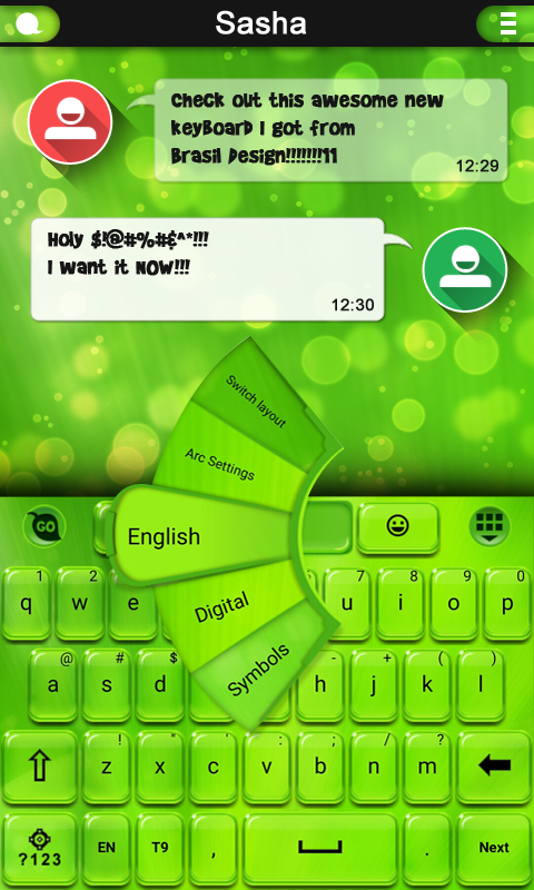 Android Green Light GO Keyboard Screen 2