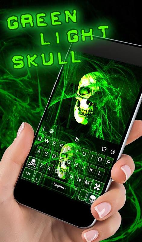 Android Neon Green Light Skull Keyboard Theme Screen 1