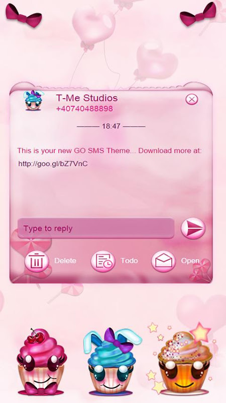 Android Cute Cupcakes SMS Screen 2