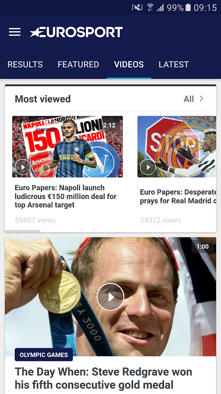 Android Eurosport Screen 2