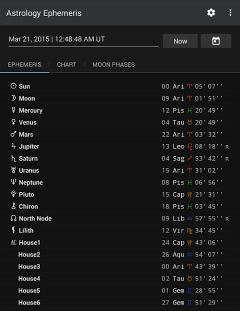 Android Astrology Ephemeris Screen 1