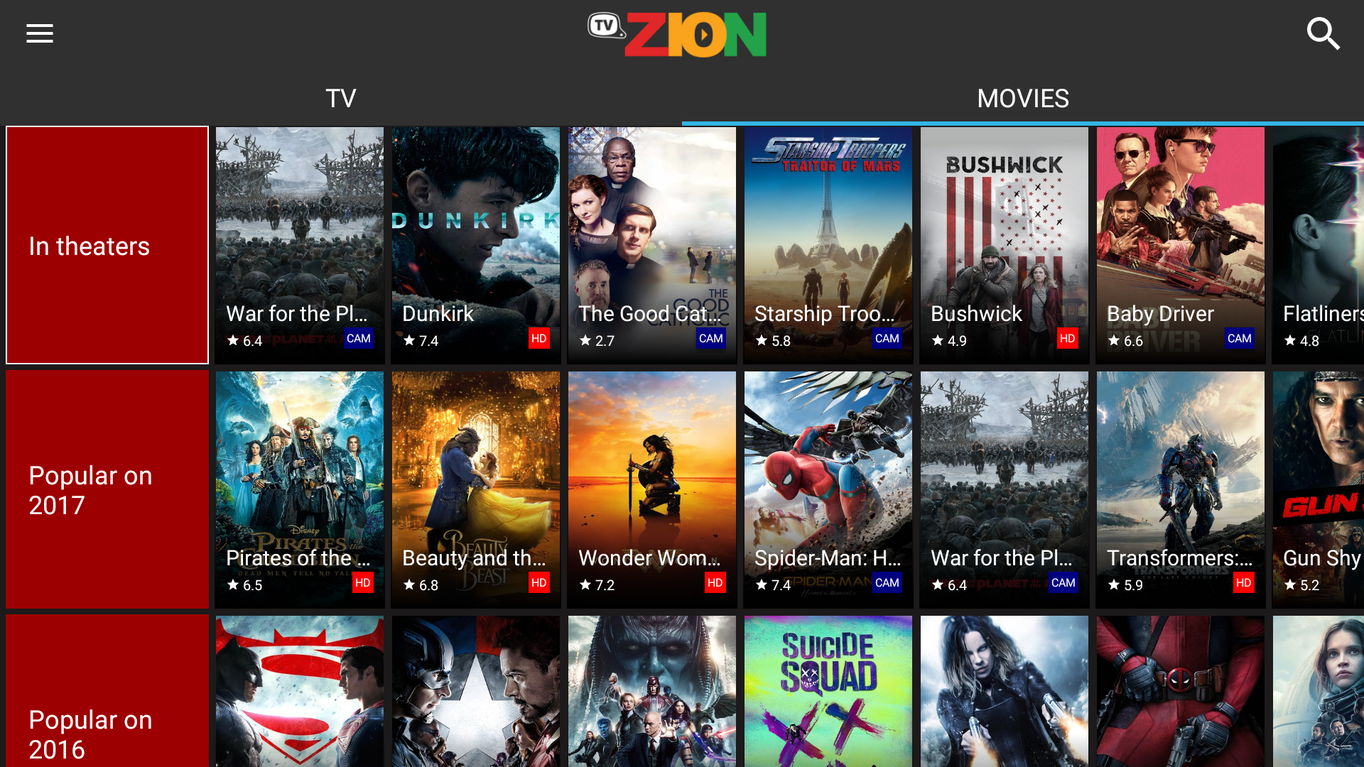 Android TVZion Screen 1