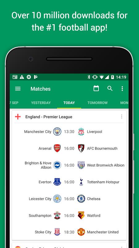 Android FotMob Screen 1