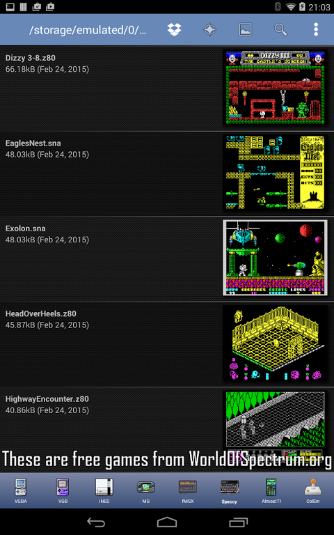 Android Speccy - ZX Spectrum Emulator Screen 9