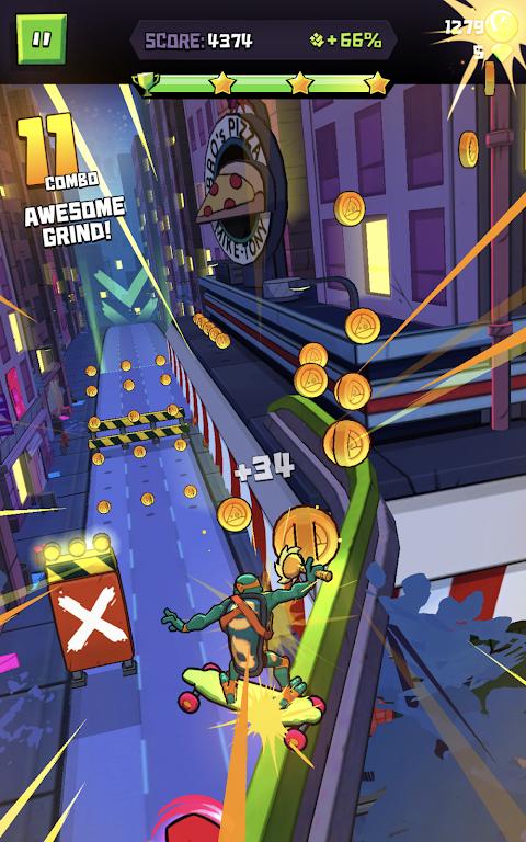 Android Rise of the TMNT: Ninja Run Screen 2
